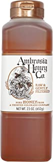 Ambrosia Pure Raw Honey by Ambrosia Honey Co., 23 Ounce Bottles (Pack of 4) - PACKAGING MAY VARY