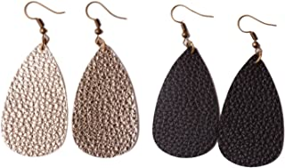 Teardrop Leather Earrings Antique Looking Leather Dangle Earrings 2 Pairs Pack