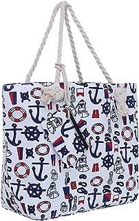 DonDon Große Strandtasche mit Reißverschluss 58 x 38 x 18 cm maritimes Design Schiff weiß blau rot Shopper Schultertasche Yacht Style