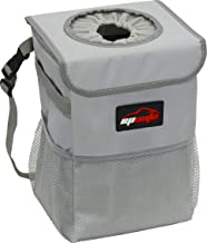 EPAuto Waterproof Car Trash Can with Lid and Storage Pockets, Grey