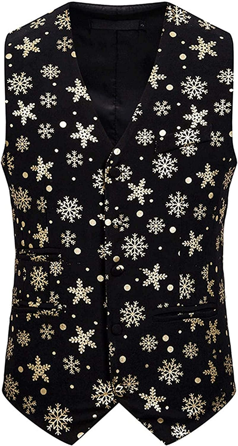 Men's Fashion Snowflake Printed We OFFer at cheap prices Single Ves V-Neck Suits Breasted sale