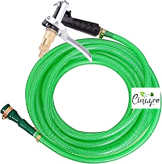 CINAGRO™ - Heavy Duty 3 Layered Braided Water Hose Pipe (Size : 1/2 inch - Lenght : 30 Meters) Brass Spray Nozzle, Garden, Car Wash, Floor Clean, Pet Bath, Easy to Connect - Black Colour