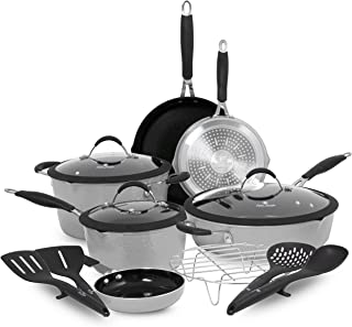 Paula Deen Family 14-Piece Hammered Aluminum Forged Cookware Set; Features Non-Stick Coating and Stay-Cool Handles, Dual P...