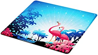 Lunarable Tropical Cutting Board, Nature Scene Exotic Flowers and Palm Tree Silhouettes and Flamingos Wildlife, Decorative Tempered Glass Cutting and Serving Board, Small Size, White Pink