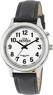 Five Senses talking watch, silver-tone women's watch, black/tan watch band