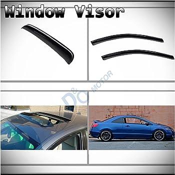 Smoke Sun Shade Vent Window Visors+Sunroof Moon Roof Guard For 06-11 Civic Sedan
