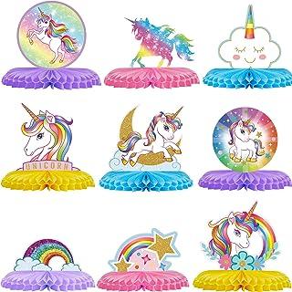 9 Pieces Rainbow Unicorn Honeycomb Centerpiece Unicorn Table Topper Unicorn Party Decorations Rainbow Cloud Centerpieces f...