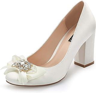 ERIJUNOR Block Heel Wedding Shoes Rhinestones Bow Knot Closed Toe Satin Bridal Shoes