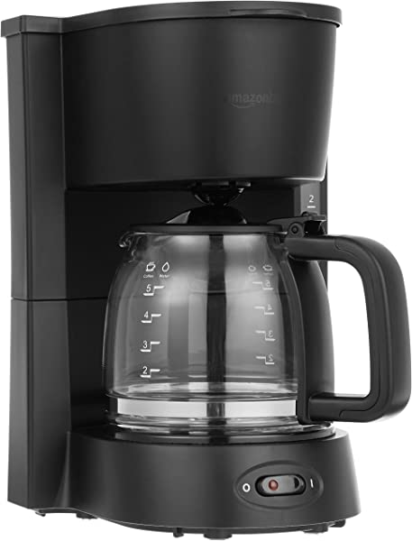 AmazonBasics 5 Cup Coffee Maker With Glass Carafe Black