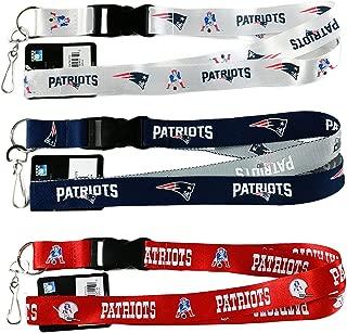 NFL New England Patriots Lanyard, ( Two Tone, Retro White, Red) Breakaway Keychain Lanyard, Set of 3