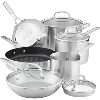 KitchenAid 3-Ply Base Brushed Stainless Steel Cookware Pots and Pans Set, 10 Piece