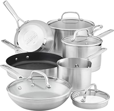 KitchenAid 3-Ply Base Stainless Steel Cookware Pots and Pans Set, 10 Piece, Brushed Stainless