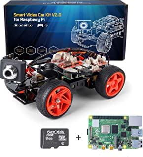SunFounder Raspberry Pi Smart Video Robot Car Kit V2.0 Electronic Camera Toy, Graphical Visual Programming Language Suppor...