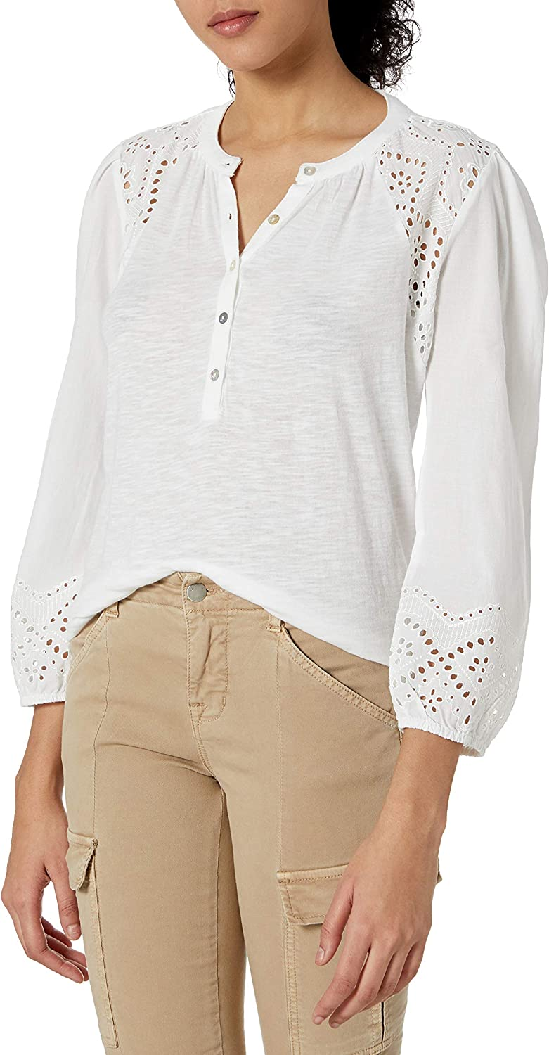 Lucky Brand Womens Long Sleeve Scoop Neck Printed Henley Top