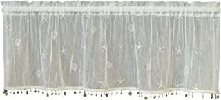 Heritage Lace Sand Shell Valance with Trim, 45 by 15-Inch, White