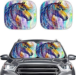 SEANATIVE Pintura de cavalo em aquarela, acessórios interiores de automóvel, para-sol, 2 peças, dobrável, janela frontal, ...