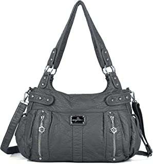 Angelkiss Large Purses and Handbags for Women Ultra Soft Washed Faux Leather Crossbody Hobo Shoulder Bag, Tote Purse, Ak19244