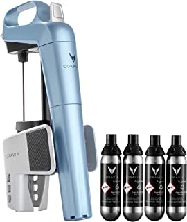Coravin 112176 Limited Edition Preservation System and Wine Bottle Opener, Includes 4 Argon Capsules, Steel Blue