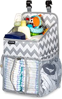 Daily Nordic Diaper Caddy Nursery Organizer (20x9x9) Crib Hanging Storage with 3 Side Pockets, Resistant Easy-to-Hang Changing Table Organizer Diaper Stacker for Newborn Baby Diapers, Wet Wipes, Toys
