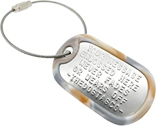 TheDogTagCo - Targhetta per bagagli, in acciaio inox, nichelata, con cavo e silenziatore, per leggere la descrizione per v...