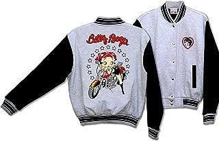 Licensed Betty Boop Biker Motorcycle Scoot Baseball Jacket Gray and Black BJ-9029