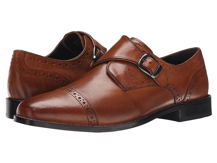 Mens Vintage Style Shoes & Boots| Retro Classic Shoes Nunn Bush Newton Cap Toe Dress Casual Monk Strap Cognac Mens Monkstrap Shoes $69.95 AT vintagedancer.com