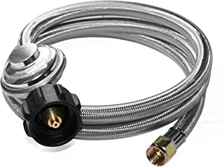 DOZYANT 5 Feet Universal QCC1 Low Pressure Propane Regulator Replacement with Stainless Steel Braided Hose for Most LP Gas Grill, Heater and Fire Pit Table, 3/8