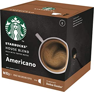 Starbucks House Blend by NESCAFÉ Dolce Gusto Medium Roast Coffee Pods, Box of 12 Capsules, 102g (12 Serves)