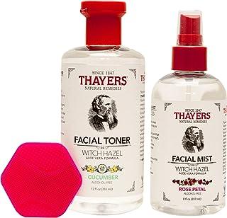 Thayers Witch Hazel Cucumber Facial Toner and Rose Petal Facial Mist Bundle |With Facial Scrubber | Thayers Cucumber Facia...