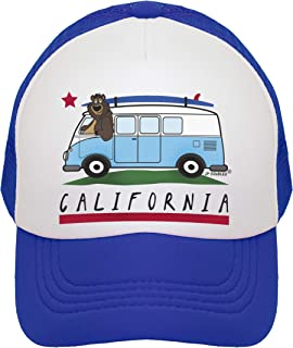 JP DOoDLES California Surfer Bear Bus on Kids Trucker Hat. Available in Baby, Toddler, Youth, and Adult Sizes