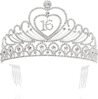 SWEETV Sweet 16th Birthday Crown Party Hats Headband Rhinestone Tiara Girl Hair Accessories, Clear