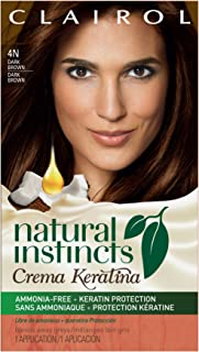 Clairol Natural Instincts Crema Keratina Hair Color Kit, Dark Brown 4 Coffee Creme, 1 Count