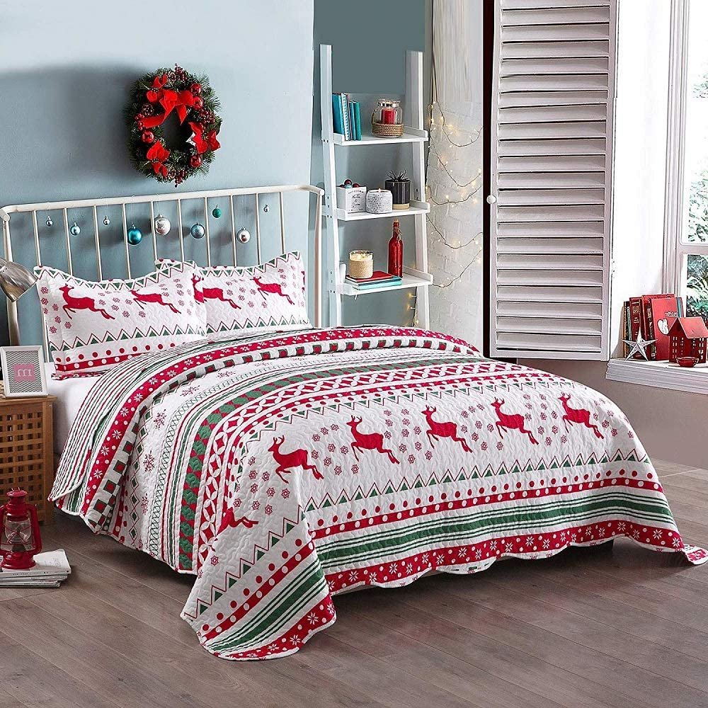 Regular store 3piece Cabin Lodge White Spring new work one after another Red Coverlet Size King Christmas Quilts