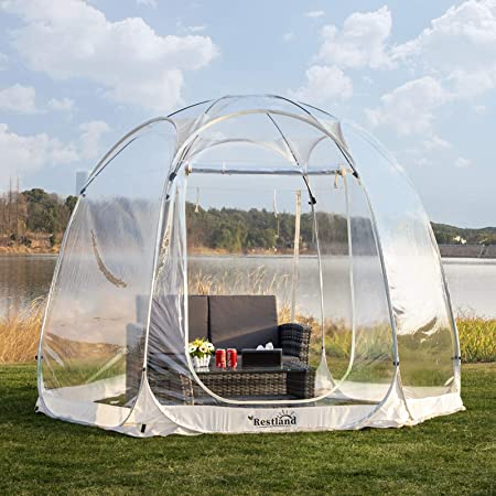 Bubble Tent 10x10, Outdoor Canopy Tent Clear Garden Igloo Tent Gazebos Transparent Bubble Tent Dome Tent Screen House 4-6 Person for Patios, Beige