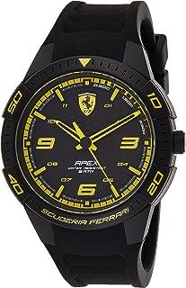 Ferrari Unisex-Adult Quartz Watch, Analog Display and Silicone Strap 830663, Black