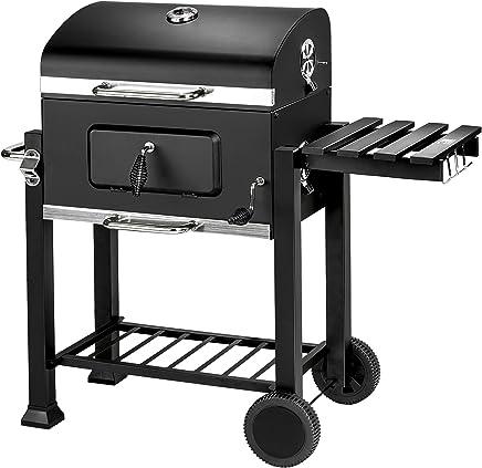 TecTake BBQ Barbacoa de carbón vegetal parrilla fumador madera 115x65x107cm   Termómetro integrado