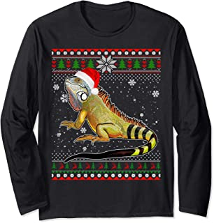 Merry Christmas Iguana Santa Hat In Snow Ugly Sweater Long Sleeve T-Shirt