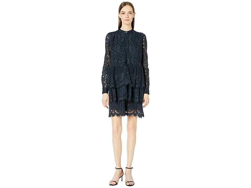 Image of Adam Lippes Corded Lace Tiered Ruffle Mini Dress (Navy) Women's Dress