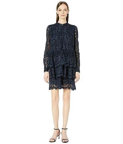 Adam Lippes Corded Lace Tiered Ruffle Mini Dress (Navy) Women