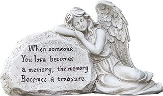 Napco 11293 Memory Becomes a Treasure Memorial Plaque with Sleeping Angel Garden Statue, 12.5 x 6.75