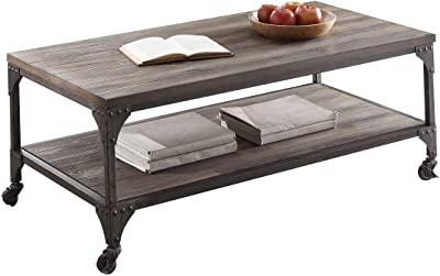 ACME Gorden Coffee Table - - Weathered Oak & Antique Nickel