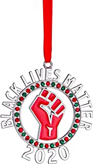 Klikel Black Lives Matter Ornament for Christmas Tree - Raised Fist Resistance Ornament with Colored Stones - BLM