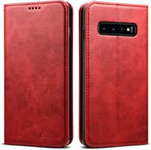 Galaxy S10 Wallet Cover 2019,TACOO Leather Slim Fit Kickstand Fold Card Money Slot Protective Girl Women Phone Red Case Shell for Samsung S10 6.1inches 2019
