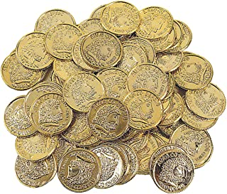 Kicko Plastic Gold Coins - 144 Pack - 1.25 Inches Fun Play Money Coins - for Kids - Party Favors, Bag Stuffers, Fun, Toy, Prize, Pinata Fillers