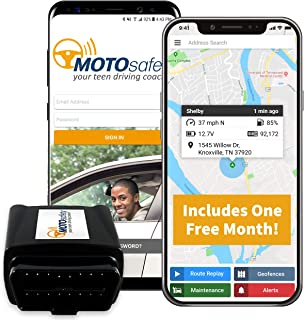 Car Tracker - MOTOsafety OBD GPS Vehicle Tracker Device with Phone App, One Month of Service Included