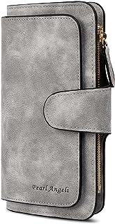 RFID Womens Wallets Fashion PU Leather Trifold Clutch Long Ladies Purse Credit Card Holder Wallet Organizer(Grey)