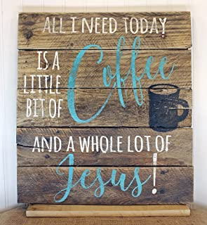 PotteLove Coffee and Jesus Quote Reclaimed Wood Pallet Sign Home Decor 16x17