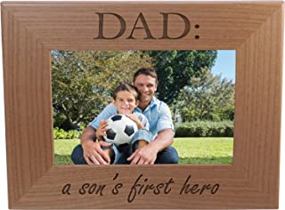Dad: A Son's First Hero - Wood Picture Frame Holds 4x6 Inch Photo - Great Gift for Father's Day Birthday or Christmas Gift for Dad Grandpa Papa Husband
