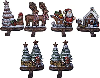 Lulu Decor, Cast Iron Combo Decorative Gingerbread Stocking Holders, Set of 6 Solid Hooks, Gingerbread Tree, House, Deer, Santa & 2 Ginger Bread Trees (Ginger Bread Combo)
