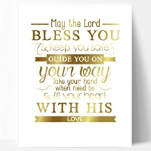 Ocean Drop Designs May The Lord Christening Gift, Baptism Gift, Gold Foil Print - Perfect Communion Gift or Baby Scripture Gift - Gold Foil Print Typography Artwork 11x14
